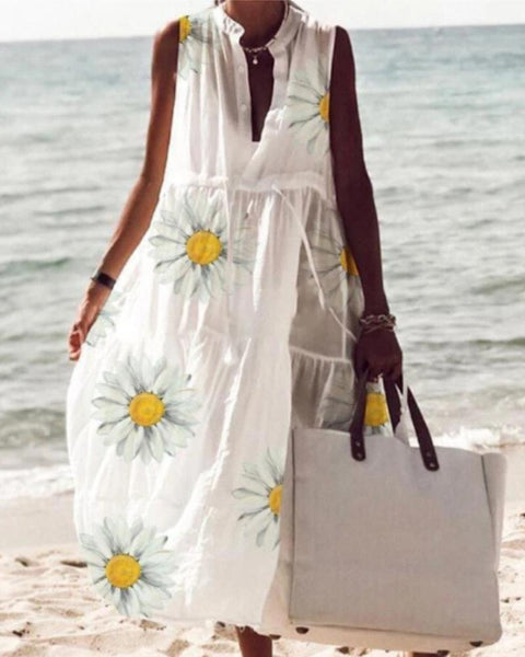 Beach Daisy Print Sleeveless Dress