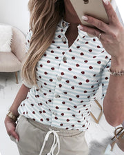 Button Detail Dot Print Casual Shirt