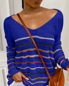 Striped Colorblock Long Sleeve Knit Sweater