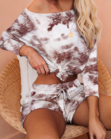 Tie Dye Print Long Sleeve Top & Shorts Set