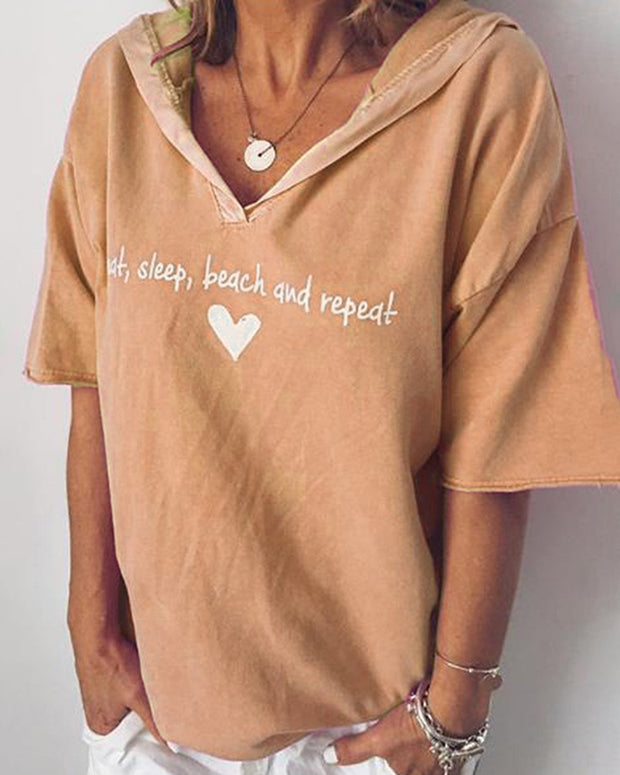 Hooded Letter Print Casual T-shirt
