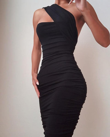 One Shoulder Sleeveless Ruched Bodycon Dress