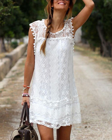 Pom Pom Decor Sleeveless Floral Lace Dress