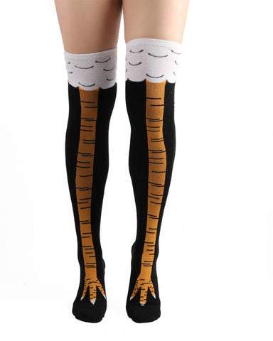 Chicken Feet Printing Over Knee Socks