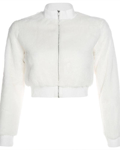 Faux Fur Zip Front Crop Jacket