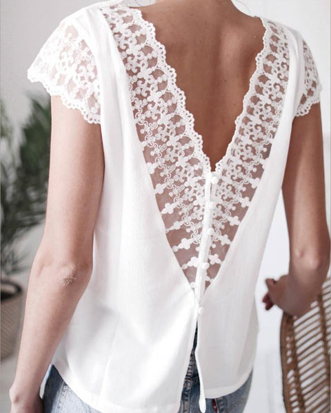 V-Neck Lace Patchwork Hollow out Backless Tops