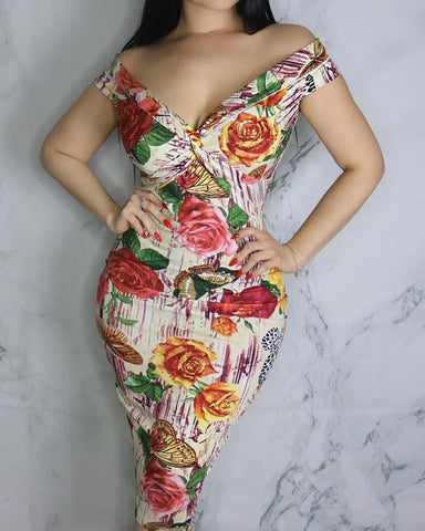 Vintage Floral Twisted Fold-over Bodycon Midi Dress