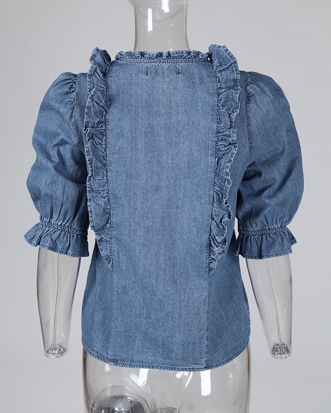 Ruffles Frill Hem Buttoned Denim Top