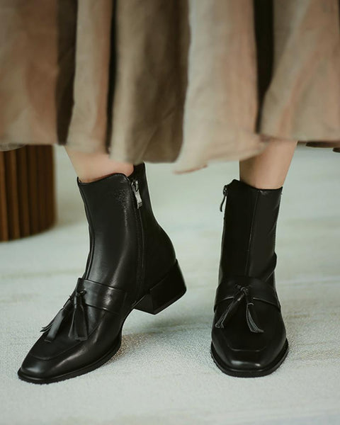 Solid Square-toe Tassel Low Heel Boots