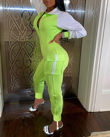 Colorblock Long Sleeve Skinny Jumpsuit With Pockets