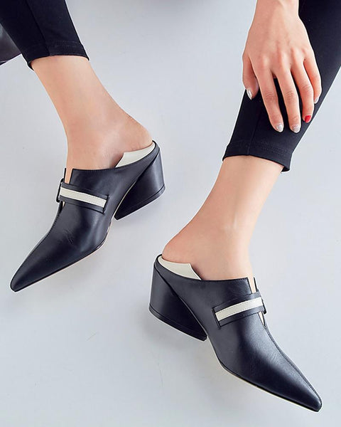 Pointed Toe Heeled Loafers