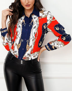 Colorblock Chain Print Long Sleeve Shirt