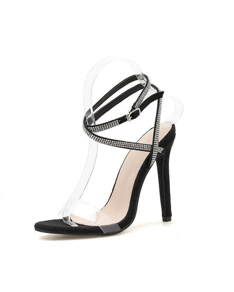 Multi-bandages T-strap Open Toe High Heels Sandals