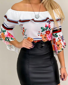 Off Shoulder Bell Sleeve Floral Print Ruffles Blouse