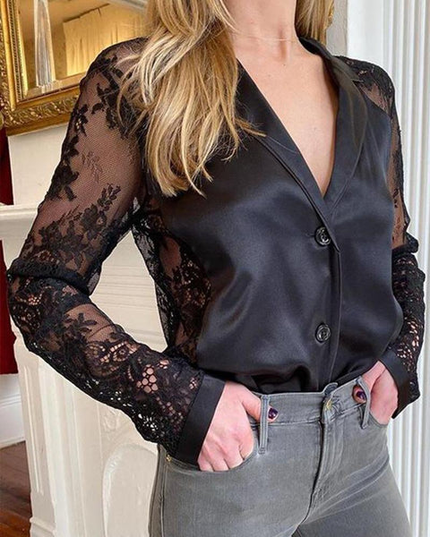 Mesh Button-Up Lace Top