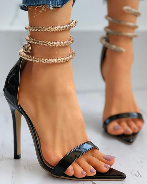 Snake Pattern Ankle Strap Stiletto Heel