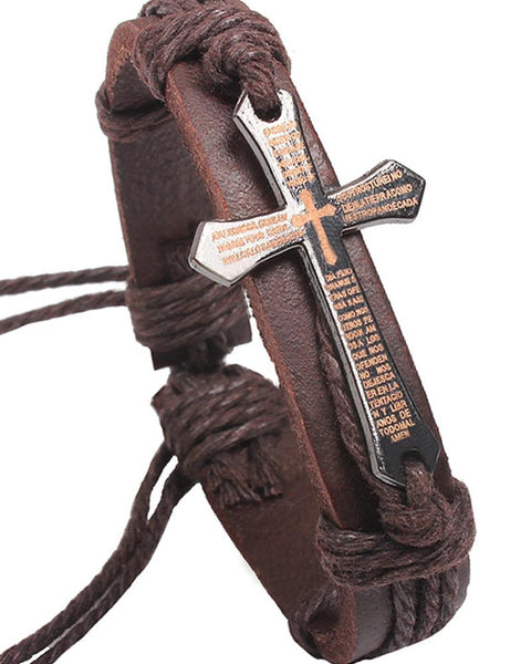 Cowhide Bible Verse Cross Bracelet
