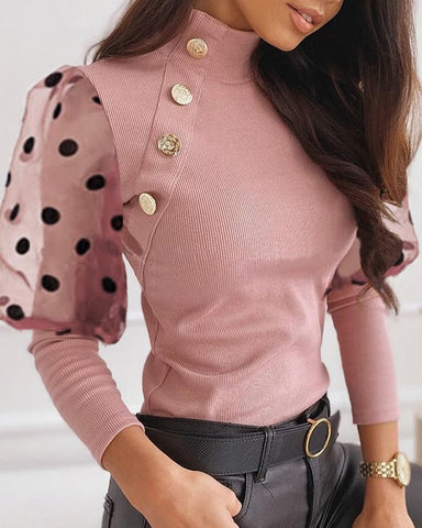 Mesh Dot Puffed Sleeve Buttoned Blouse
