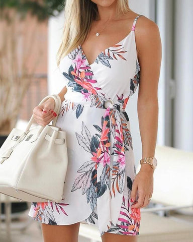 Floral Spaghetti Strap Tied Waist Mini Dress