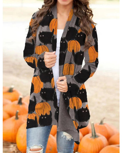 Halloween Pumpkin Cat Print Long Sleeve Cardigan