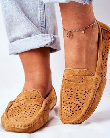 Solid Cut Out Flat Slip-on