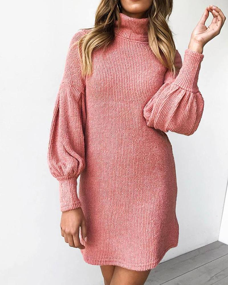 High Neck Rib Knit Sweater Dress