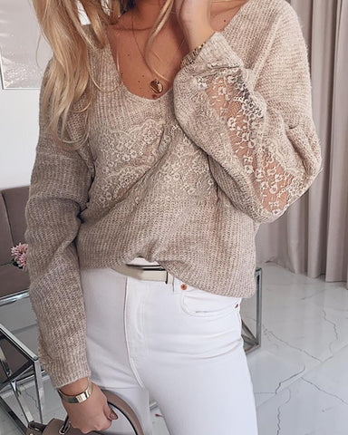 Lace Insert Long Sleeve Sweater