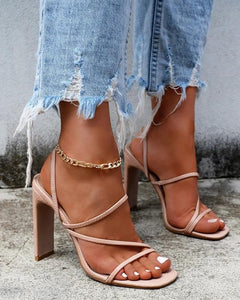 Solid Peep Toe Heeled Sandals