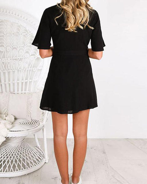 Short-sleeve Side Button Low Cut Casual Dress