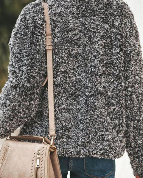 Faux Fur V Neck Sweater