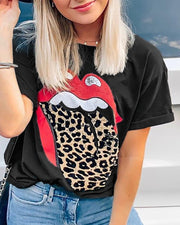 Lip Leopard Print Short Sleeve T-shirt