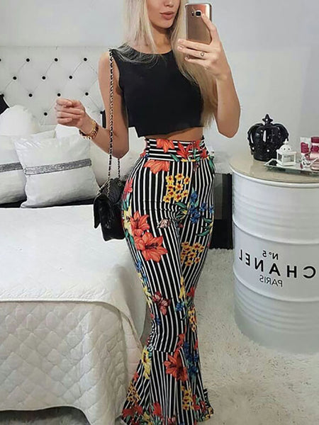 Striped Floral Flared Pants With Crop Top Set