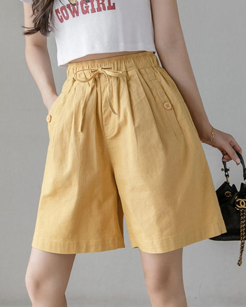 Solid Lace-up Elastic Waist Pants