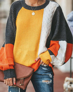 Loose Large Size Colorblock Sweater