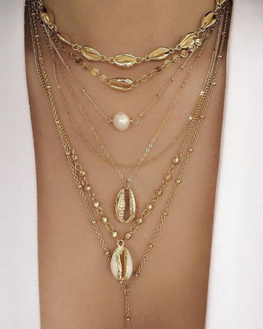 Bohemian Shell Pearl Sequins Multilayer Necklace