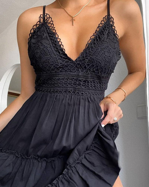 V Neck Lace Detail Cami Dress