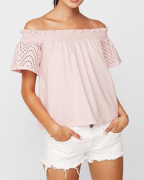Solid Shirring Off Shoulder Hollow Out Top