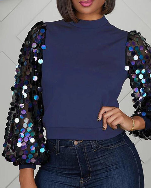 Solid Patchwork Sequins Sleeve Blouse