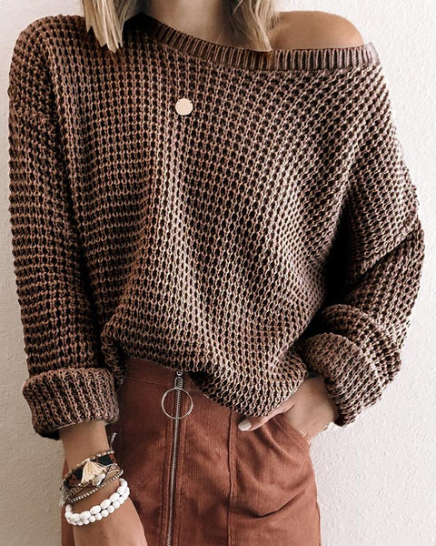 Solid Knit Long Sleeve One Shoulder Casual Sweater