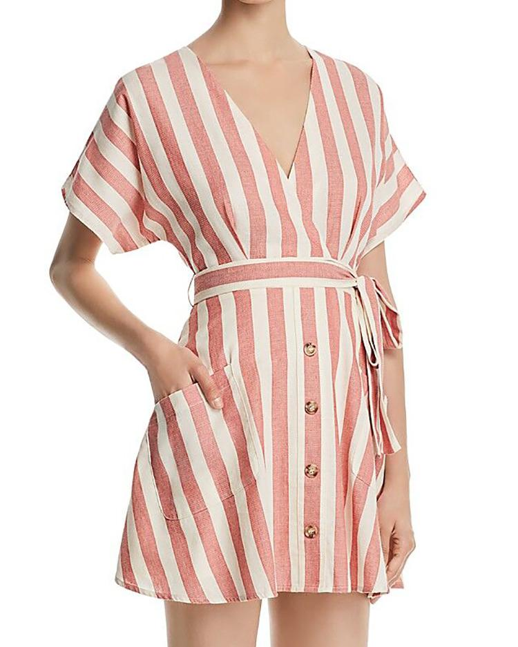 Striped Button Belted Pocket Design Dress