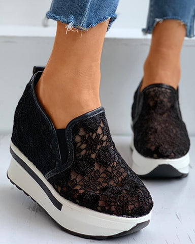 Sheer Mesh Crochet Lace Lace Breathable Muffin Shoes