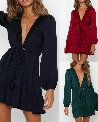 Deep V-neck lace-up sweet long-sleeved dress