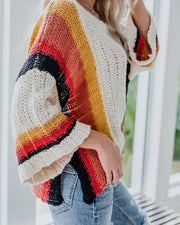 Loose large Size Stitching Knit Rainbow Sweater