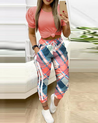 Colorblock Plaid Loose Cropped Tops With Drawstring Pants Suit Sets