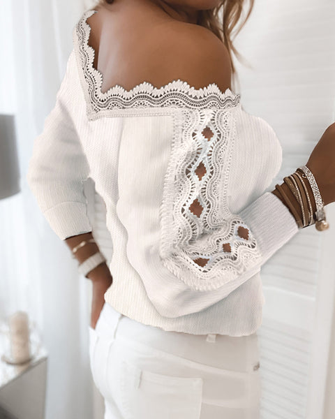 Lace Trim Ribbed Cutout Long Sleeve Sweater