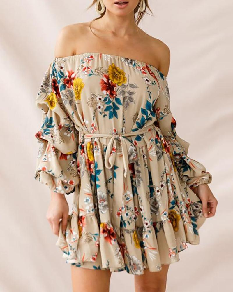 Printed strapless strapless sexy one-neck loose dress