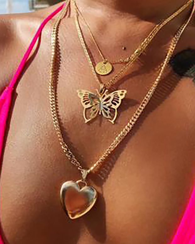 Tiered Heart Butterfly Letter Pendant Necklace