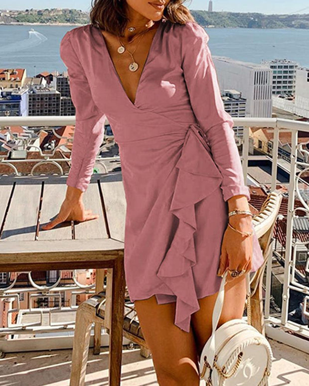 V Neck Mini Wrap Dress