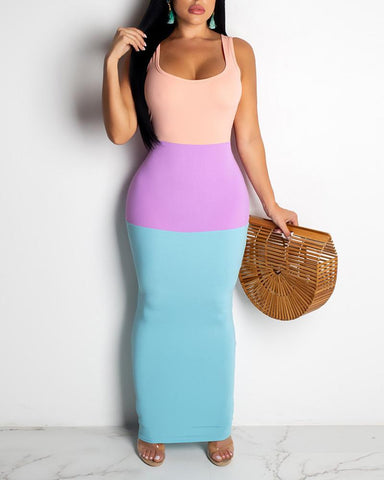 Color Blocking Thin Strap Maxi Dress