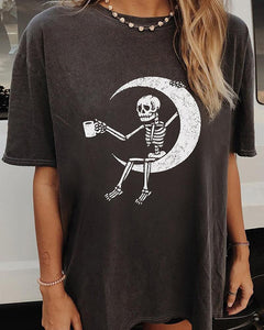 Moon And Skeleton Print Short Sleeve T-Shirt